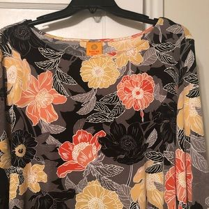 Floral Black and Orange Plus Blouse